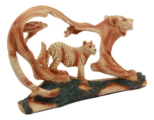 "Ebros Crouching Bengal Tiger Statue 12""Long Faux Wood Resin Carving Decor Tiger Family in Jungle Wildlife Scene Figurine"