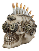 Ebros Badass Bullet Ammo Mohawk Punk Rock Steampunk Skull Figurine with Painted Gearwork 7'Long Gangster Skeleton Head Statue for Halloween Day of The Dead Vintage Sci Fi Decor