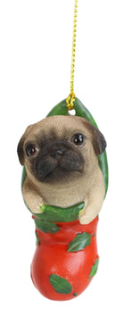Teacup Pug Puppy Dog In Red Holly Sock Christmas Tree Small Hanging Ornament