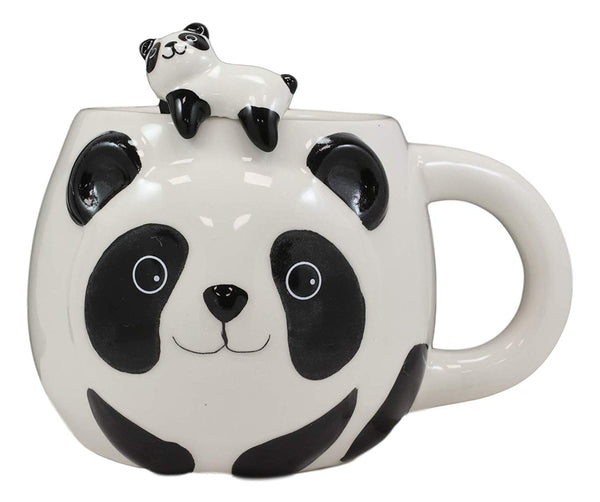 Ebros Giant Panda Bear Ceramic Coffee Mug With Sleeping Cub Latch On Spoon Set