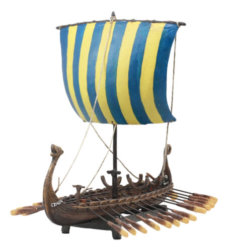 Ebros Scandinavian Viking Norseman Dragon Longship Model Statue With Base Stand War Vessel Battle Ship Prototype Sculpture Figurine