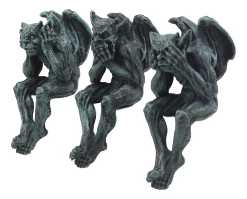 "Ebros Winged Hear No Evil See No Evil Speak No Evil Gargoyle Shelf Sitters 5"" Tall Gargoyle Statue Set of 3"