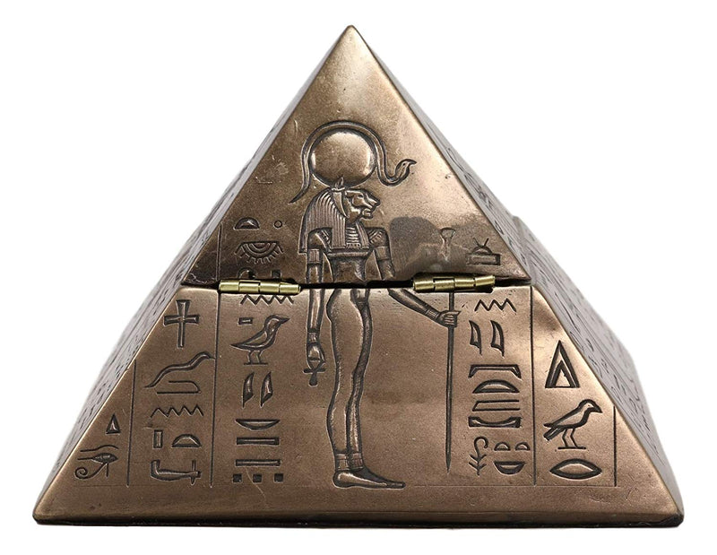 "Ebros Ancient Egyptian Isis Sekhmet Horus Anubis Pyramid Jewelry Trinket Box 6""L"