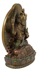 "Ebros Bronze Patina Buddha Bodhisattva Manjushri Sitting On Lotus Throne Statue 6.25"" Tall"