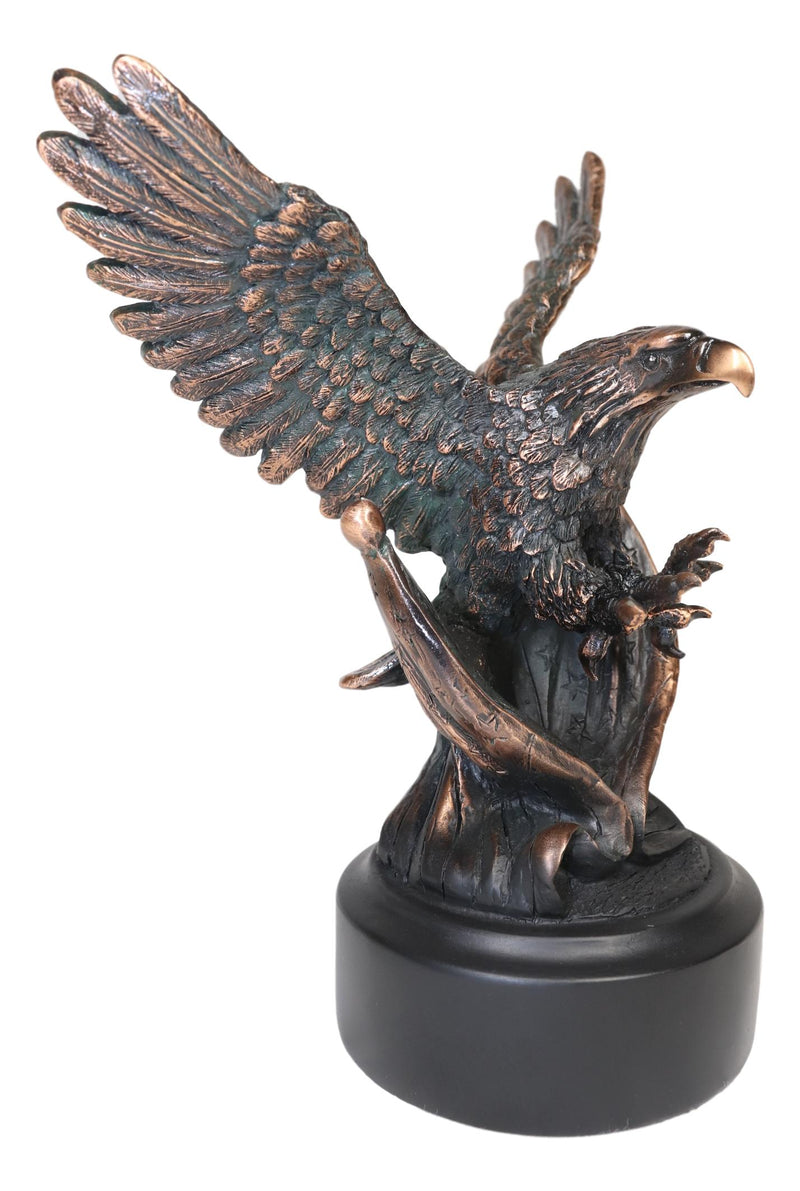 Wings of Glory Bald Eagle Swooping On Star Spangled Banner American Flags Statue