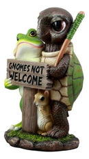"Ebros ""Gnomes Not Welcome!"" Angry Turtle Squirrel And Frog Friends Decor Statue"