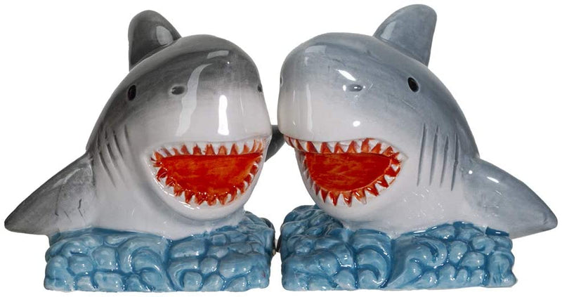 "Ebros Sharks on the Sea Ceramic Salt and Pepper Shakers Set 2.5""H"