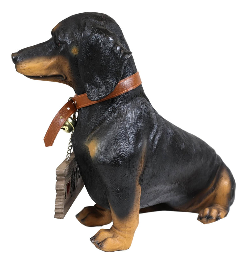 "Ebros Adorable Black & Tan Dachshund Dog Welcome Statue 10.5""Tall Sausage Wiener Dog Figurine Guest Greeter Home Decor"