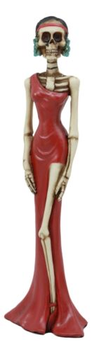 "Ebros Day of The Dead Elegant Skeleton Lady in Red Gown Statue 8"" H for Dias De Muertos Or Halloween Decor Figurine As Decorations of Skulls, Skeletons and Ossuary Sculptures"