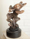 Marine Sea Turtle Swimming By Corals Starfish Electroplated Bronze Resin Statue