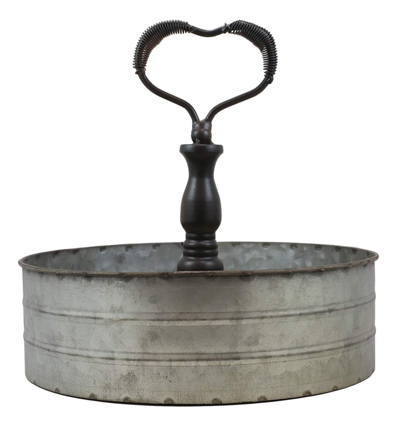 "Ebros 11.25"" Wide Metal Tray with Heart Shaped Handle Western Spice Rack Decor - Ebros Gift"