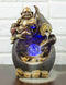 Happy Buddha Hotei Seated On Wine Gourd Backflow Incense Burner LED Light Statue