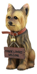 "Ebros Yorkie Dog Garden Statue 12.5""H Yorkshire Terrier Figurine With Jingle Collar and Sign Patio Welcome Decor Guest Greeter Realistic Animal Dogs Sculpture"