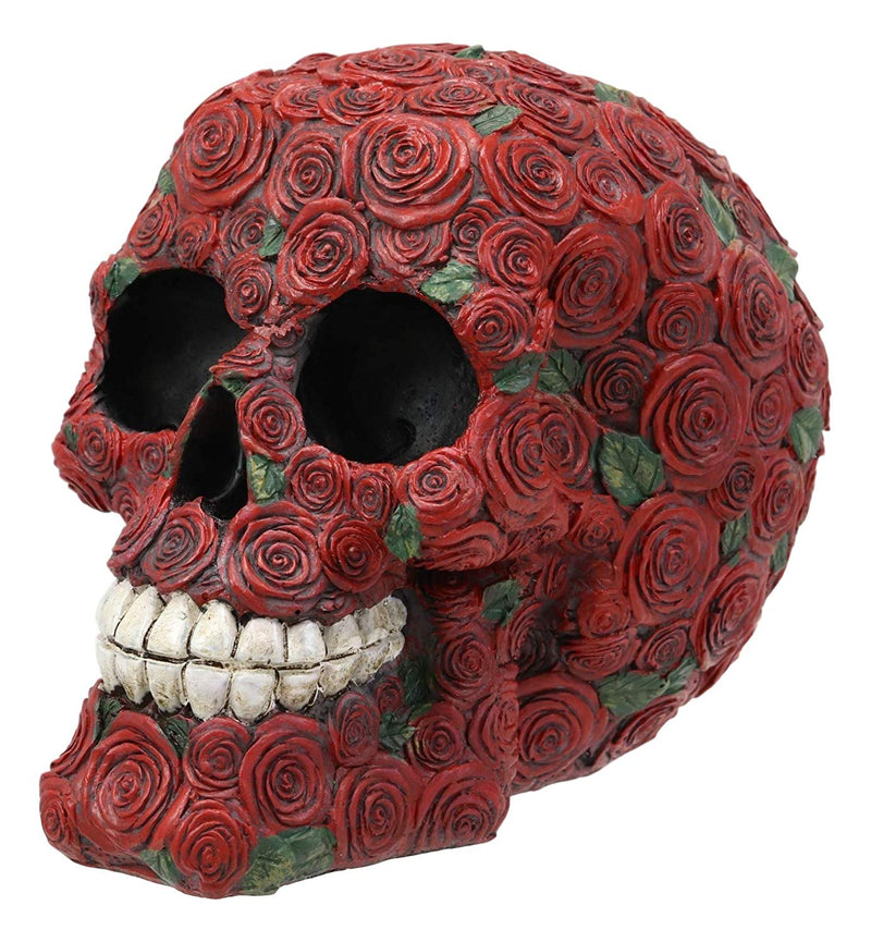 Ebros Valentine's Day of The Dead Red Floral Roses with Green Petals Skull Figurine DOD Rosa Sugar Skulls Statue As Cranium Skeleton Head Halloween Ossuary Macabre Altar Decor Collectible