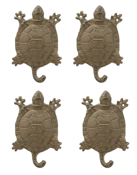 "Ebros Gift 5.75"" Tall Nautical Ocean Sea Turtle Cast Iron Rustic Wall Coat Keys Leashes Hats (4)"