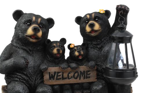 Ebros Beacon Of Happiness Black Bear Family Welcome Sign Statue Solar LED Light