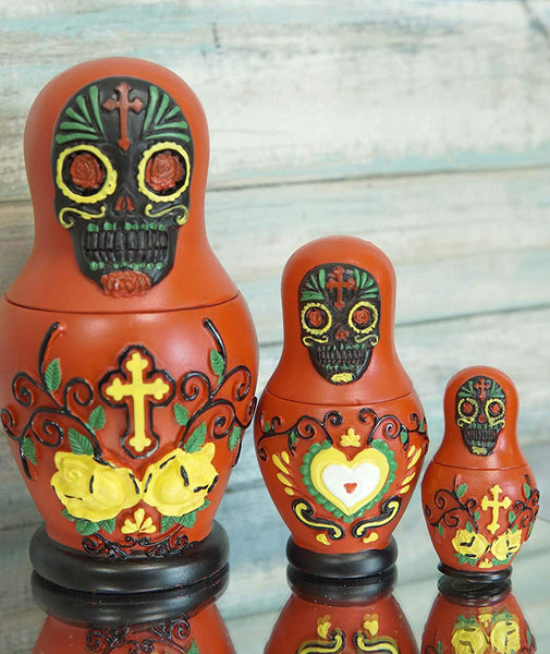 Ebros 3 Piece Set Red Sugar Skulls Nesting Dolls Matroyshka Babushka Figurines
