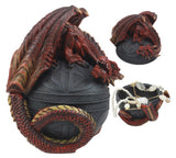 "Celtic Red Dragon Egg Box 6.5""Tall Mythical Guardian Dragon Figurine Jewelry Box"