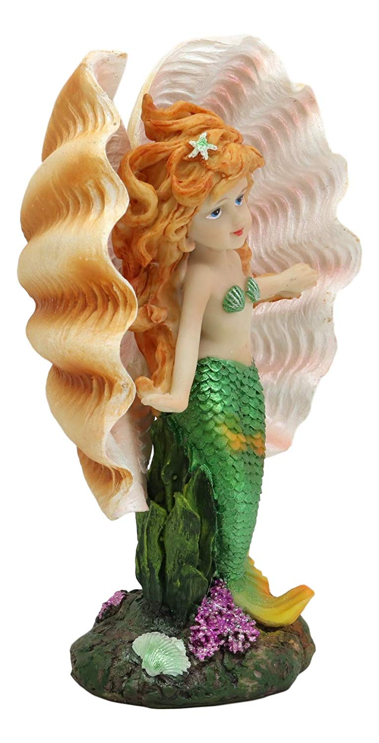 "Ebros 6.75"" Tall Colorful Nautical Ocean Mermaid Mergirl with Giant Shell Wings and Green Tail Statue Under The Sea Fantasy Mermaids Mergirls Sirens of The Seas Figurines Fairy Garden Collectibles (GREEN)"