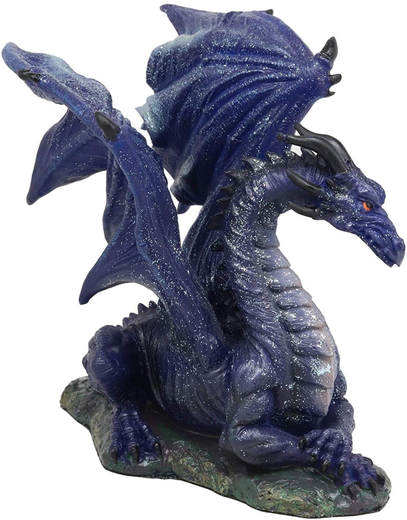 "Ebros Fantasy Glitter Blue Midnight Dragon in Repose Statue 8"" Long Land of The Dragons Collectible Home Decor Figurine Medieval Renaissance Alchemy and Magic Flying Prehistoric Beast Sculpture"