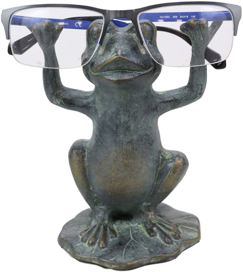 Ebros Aluminum Whimsical Yoga Frog On Lily Pad Eyeglass Or Spectacle Holder