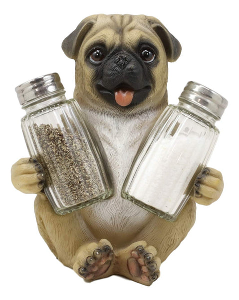 "Ebros Gift Realistic Adorable Hugging Pug Dog Decorative Glass Salt Pepper Shakers Holder Resin Figurine 6.25""Tall Animal Pet Pal Pugs Pugsy Dream Kitchen Helper Spice Organizer Statue"