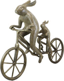 "Ebros Aluminum Father & Son Rabbits Riding Tandem Bicycle 27""L Garden Statue"