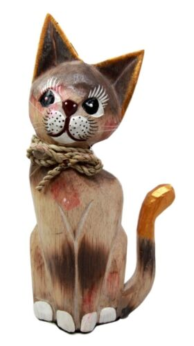Balinese Wood Handicrafts Adorable Feline Cat With Rope Ribbon Tie Figurine