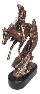 Rustic Wild West Cowboy Desert Bandit Racing Down Rocky Slope On Horse Statuea