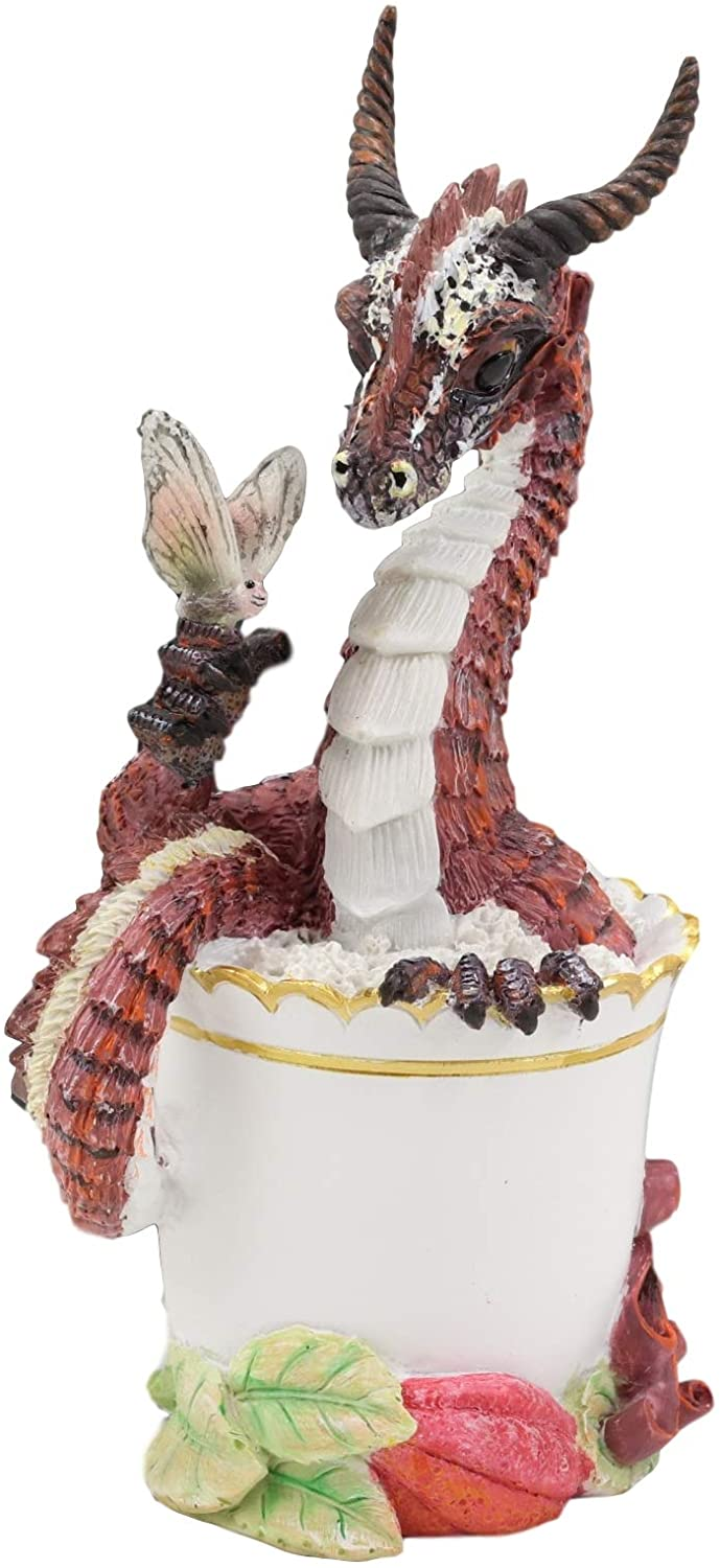 "Ebros Cocoa Dragon Drunken Beverage Spirit Drinks and Dragons Statue 7.75"" Tall"