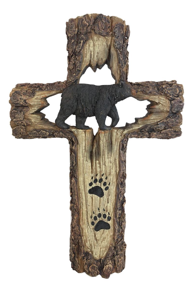 Rustic Western Black Bear With Paw Prints Faux Wood Wall Cross Decor Plaque