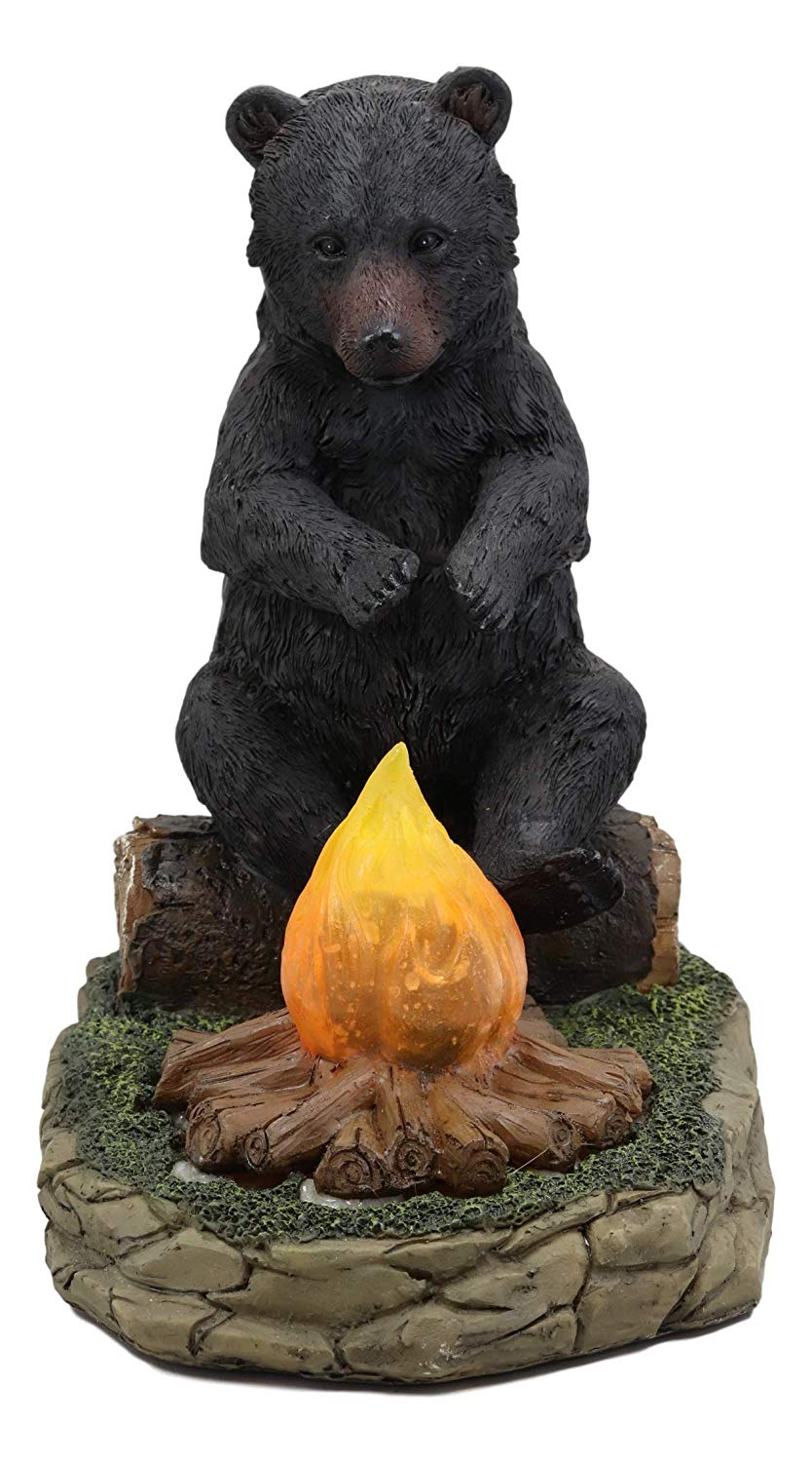 Ebros Whimsical Rustic Forest Black Bear Warming Hands By Campfire Led Ebros Gift