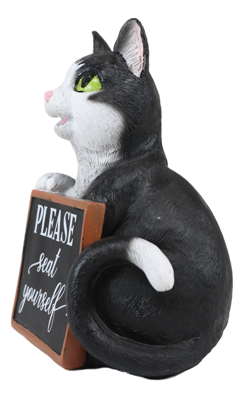 Black White Cat With Please Seat Yourself Sign Decorative Toilet Topper Figurine