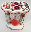 Ebros White Roses Tattoo Sugar Skulls Day of The Dead Sand Timer Skeleton Figurine