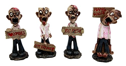 "Ebros Set of 4 Brain Eaters Walking Dead Zombie Holding Funny Signs Decorative Figurines 3.75"" H"