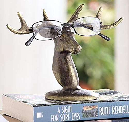 Ebros Aluminum Deer Antlers Bust Eyeglass Spectacle Or Jewelry Holder Organizer