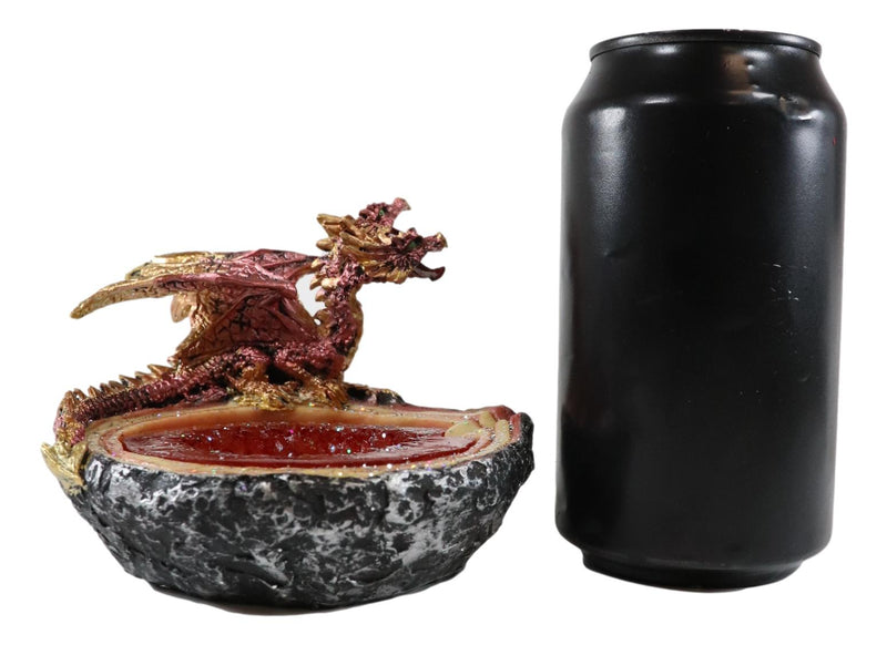 Red Double Headed Hydra Dragon On Ruby Quartz Crystal Quarry Ashtray Figurine