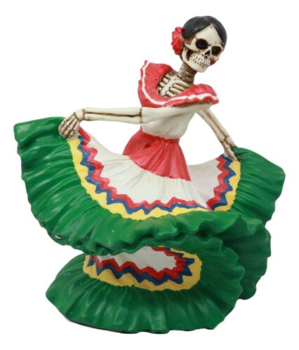 Ebros Dia De Los Muertos Danza De DAMA Day of The Dead Green Gown Lady Skeleton Dancer Statue Sugar Skull Vivas Calacas Decor Figurine for Halloween Prop Gothic Collectible