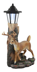 The Emperor 12 Point Buck Deer Statue Rustic Forest Tree Solar LED Light Outpost