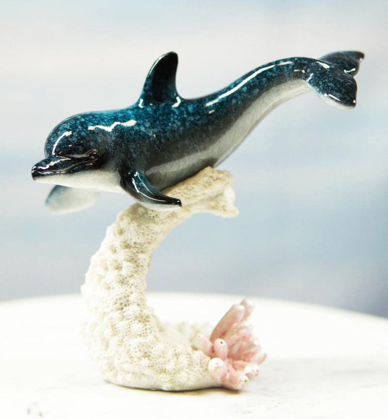 Ocean Marine Sea Life Bottlenose Dolphin Swimming Over Coral Reef Figurine