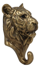 "Ebros Bronzed Bengal Tiger Bust Wall Hook Hanger Forest Jungle Trophy Taxidermy Giant Cat Tigers Wall Mount Hooks Decor Sculpture Plaque Figurine 7.25"" Tall"