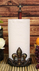 "Ebros 16"" Tall Rustic Vintage Fleur De Lis Cross Top Crown Paper Towel Holder - Ebros Gift"