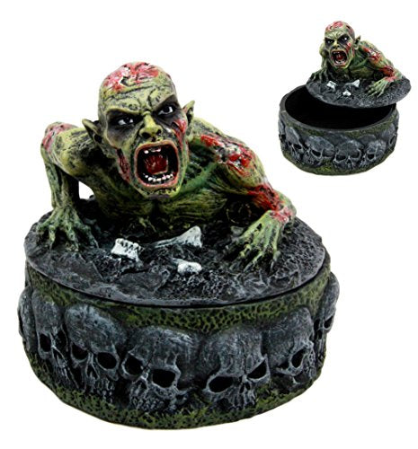 "Ebros Gift Zombie Walking Dead Crawling Out Of The Grave Decorative Jewelry Box Figurine 4.5"" Tall"