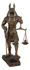 "God Anubis with Scales of Justice Statue Figurine 10"" Tall (Faux Bronze Resin)"