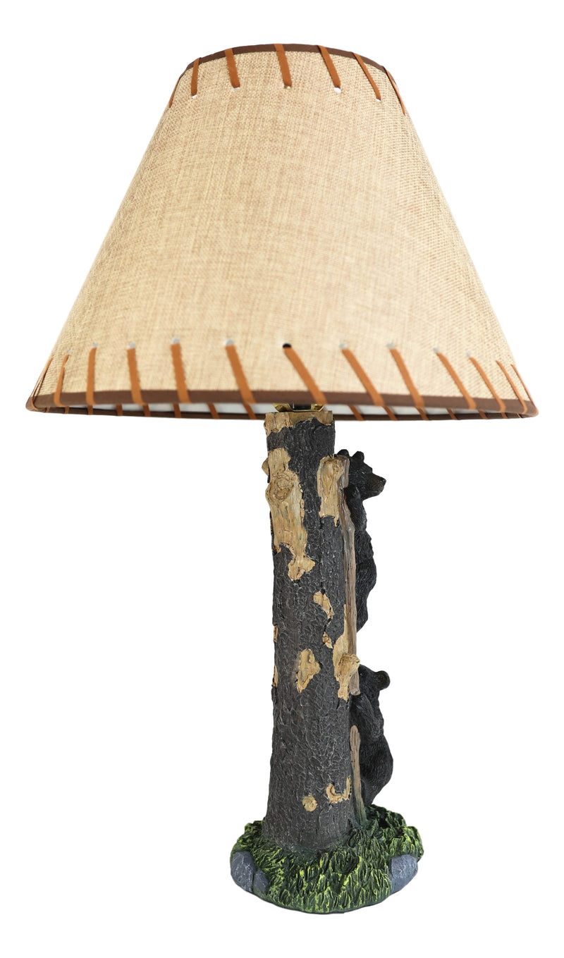 "Rustic Forest 2 Bear Cubs Climbing Tree Ladder Table Lamp Statue with Shade 23""H"