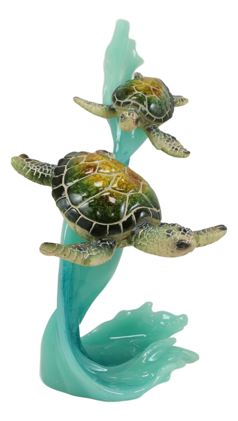 Marine Green Sea Turtle With Hatchling Riding Blue Ocean Current Waves Statue