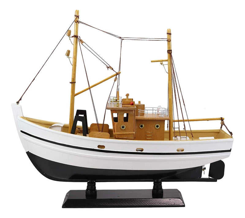 "Ebros 17.25"" Long Fisherman's Wharf White Wooden Handicraft Nautical Coastal Ocean Marine Trawler Fishing Vessel Boat Model Statue with Wood Base Stand Fully Assembled Figurine Sea Ship Prototype - Ebros Gift"