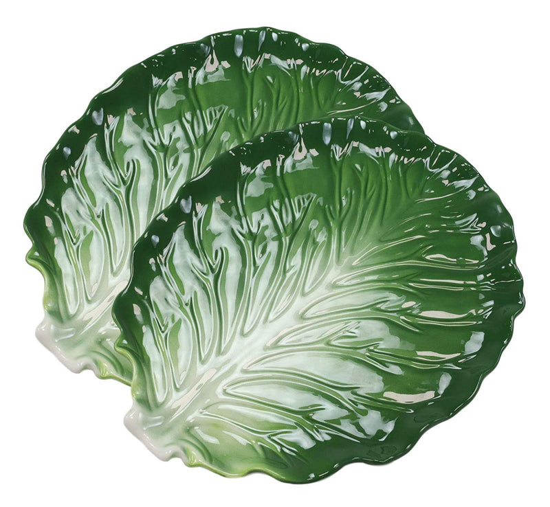 "Ebros Ceramic Iceberg Lettuce Leaf Serving Platter Dinner Plate Vegetable Accent Dish 10.75""Wide For Salads Veggies Fruits Entrees Kitchen Dining Essentials Accessory (2)"