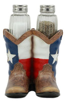 Ebros Western Cowboy Or Cowgirl Texas Flag Boots Salt and Pepper Shakers Set with Decorative Resin Display Holder Figurine and Glass Shakers Kitchen Two Step Spice Decor