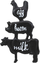 "Ebros 9.25""H Cast Iron Chicken Pig And Cow Egg Bacon Milk Wall Hanging Plaque"